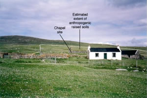 Figure 3: Teampull Mhoire, Pabbay, Sound of Harris. Anthropogenic raised soils extend at least 150 metres to the north and east of the chapel site, on south and south-east facing slopes. These soils do not extend in front of the croft - click for a larger image
