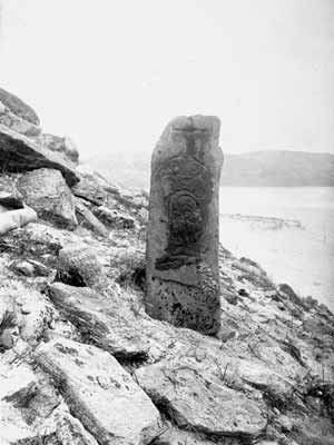Fig. H4.8. The Pictish symbol stone photographed in 1895 (SC 908651 © RCAHMS (Erskine Beveridge Collection)