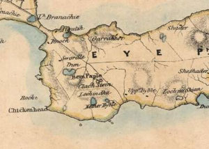 Fig. H6.5. Part of Chapman's map of Lewis, originally drawn in 1807, showing the township boundaries (EMS.s.543, courtesy of The Trustees of the National Library of Scotland) click for a larger image