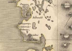 Fig. H8.3. The area around Paibeil in Thomson's 1820 map of North Uist (EMS.s.712(24c), courtesy of The Trustees of the National Library of Scotland) - click for a larger image