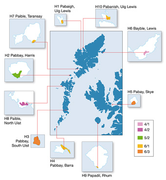 Fig. Intro.1: Land capability for agriculture classes (Soil Survey of Scotland, 1982) at locations with papar place names - click for a larger image